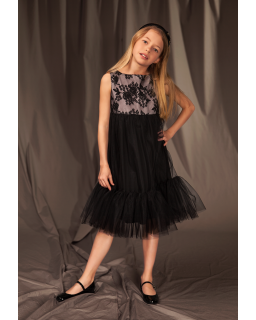 Stylowa sukienka dla dziewczynki 128-158 2/J/19 czarna