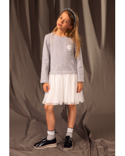 Sukienka z długim rękawem i tiulem 128-158 25B/J/19 szary