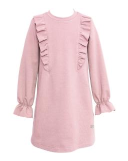 Dziewczęca sukienka z falbankami 128-164 28A/J/19 różowa 1
