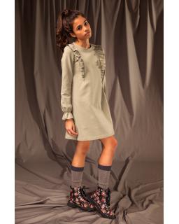 Prosta sukienka z falbankami 128-164 28B/J/19 khaki