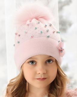 Dziewczęca czapka z perełkami i pomponem 52-56 AJS/38-507 róż 1
