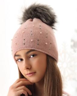 Dziewczęca czapka z dżetami 52-56 AJS/38-560 trzy kolory 1