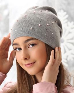 Dziewczęca prosta czapka z perełkami 52-56 AJS/38-564 dwa kolory 1