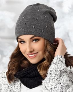 Jesienno — zimowa czapka dla dziewczynki 52-56 AJS/36-498 szara 1