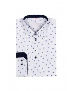 Chłopięca koszula w piłki z długim rękawem 122-164 KS29 biała