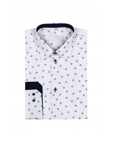 Chłopięca koszula w piłki z długim rękawem 134/32 KS29 biała 1