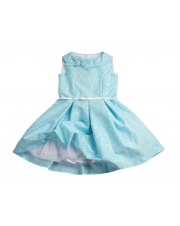Sukienka z półokrągłym kołnierzykiem 134-158 Awa niebieska