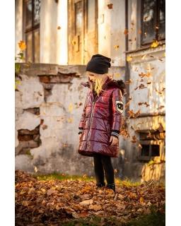Modny pikowany płaszczyk dla dziewczynki 122-152 PŁ-116 bordowy