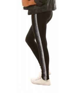 Ocieplane legginsy z błyszczącym lampasem 116-158 KRP307 czarne