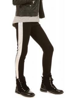 Ocieplane legginsy ze srebrnym paskiem 116-158 KRP308 czarne