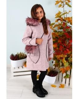 Płaszcz z kapturem i kieszeniami 140-158 TLK Kika 2 pudrowy róż