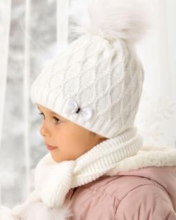 Dziewczęcy komplet czapka z szalikiem 52-56 AJS/38-461 dwa kolory 1