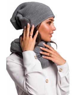 Jesienno-zimowa czapka - smerfetka dla mamy BK044 szara