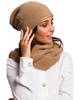 Jesienno-zimowa czapka - smerfetka dla mamy BK044 karmel