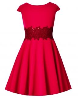 Sukienka z połyskującą gipiurą 128-158 Barbi jagodowa