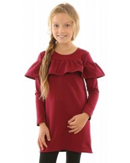Sukienka z falbanką i długim rękawem 116-158 KRP176 bordowa