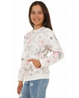 Bluza dla dziewczynki w kwiaty 128-158 KRP309 ecru