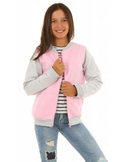 Bluza bejsbolówka dla dziewczynki 128-158 KRP122 pudrowy róż