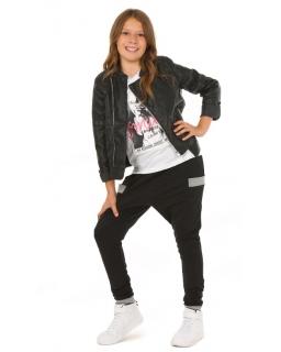Wygodne spodnie baggy dla dziewczynki 116-158 KRP310 czarne