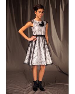 Wizytowa sukienka w drobny wzorek 128-158 4a/J/19 ecru plus czarny