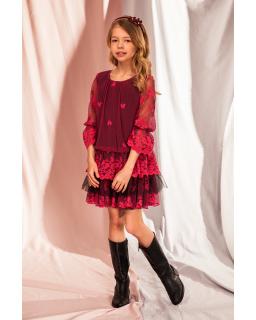 Koronkowa sukienka w stylu boho 128-164 5B/J/19 malinowy