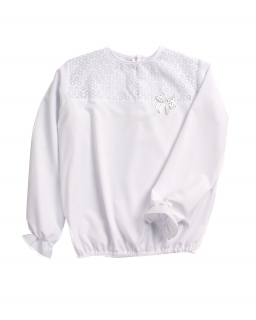 Okolicznościowa bluzka z długim rękawem 122-158 Majka 2 biała 1