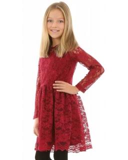 Sukienka z koronki dla dziewczynki 134-164 KRP220 bordowa