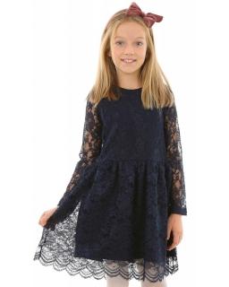Sukienka z koronki dla dziewczynki 134-164 KRP220 granatowa