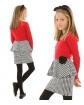 Sukienka z baskinką w pepitkę 116-152 KRP312 czerwona