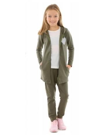 Dziewczęcy komplet bluza i spodnie 128-164 KRP279 khaki