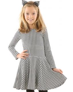 Rozkloszowana sukienka w pepitkę 116-152 KRP316 biało-czarna