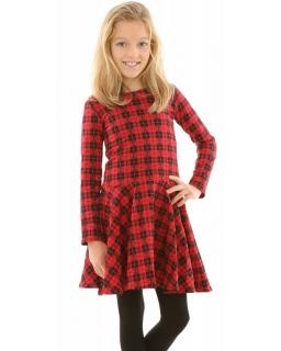 Rozkloszowana sukienka w kratkę 116-152 KRP317 czerwono-czarna