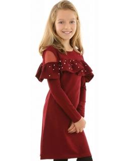 Sukienka hiszpanka z perełkami 128-158 KRP215 bordowa