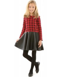 Dziewczęca sukienka w kratkę 116-152 KRP317 czerwono-czarna 1