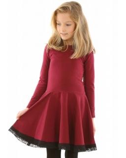 Dziewczęca sukienka szyta z koła 116-158 KR49 bordowa 1
