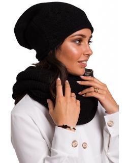 Jesienno-zimowa czapka - smerfetka dla mamy BK044 czarne