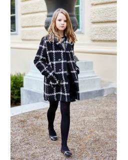 Elegancki płaszcz w kratę 146-164 Sylwia czarny