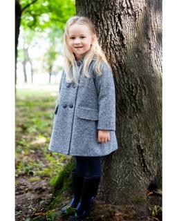 Gustowny płaszcz dla dziewczynki 110-134 Brenda granatowy melanż 1