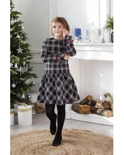 Sukienka w kratkę dla dziewczynki 134-158 Judyta czarna