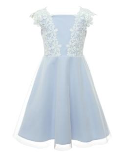 Sukienka dla dziewczynki z koronką 128-158 17C/SM/20 niebieski