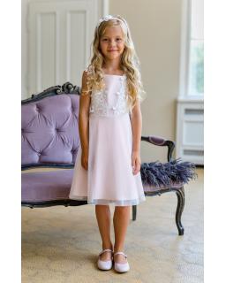 Sukienka dla dziewczynki z gipiurą 128-158 17B/SM/20 różowa