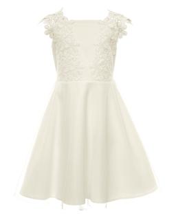 Sukienka dla dziewczynki z gipiurą 128-158 17A/SM/20 ecru