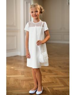Delikatna sukienka pokomunijna 134-164 24/SM/20 ecru