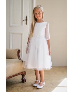 Biała sukienka pokomunijna z rękawkiem 134-158 5A/SM/20 biała