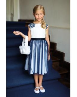 Okolicznościowa sukienka dla dziewczynki 128-158 19/SM/20 ecru