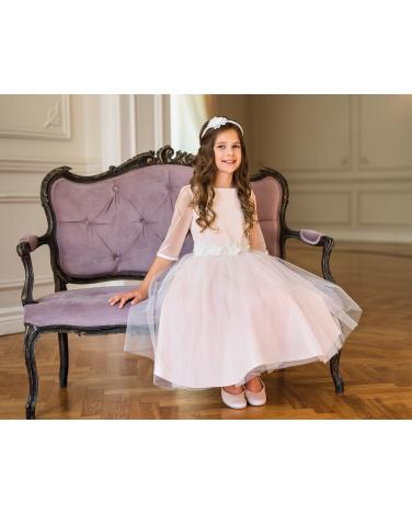 Wyjątkowa sukienka dla dziewczynki 134-164 26B/SM/20 róż plus ecru