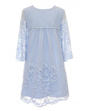Romantyczna sukienka uszyta z koronki 128-158 25B/SM/20 niebieski