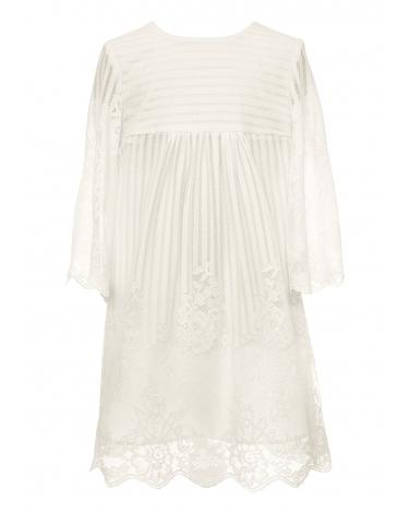 Dziewczęca sukienka z koronką 128-158 10B/SM/20 ecru 1