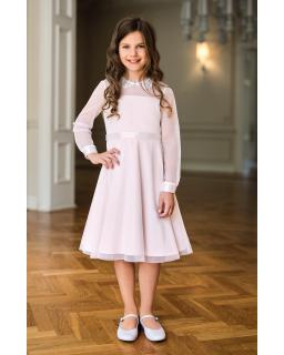Sukienka z długim rękawkiem i kołnierzykiem 128-158 12C/SM/20 różowa