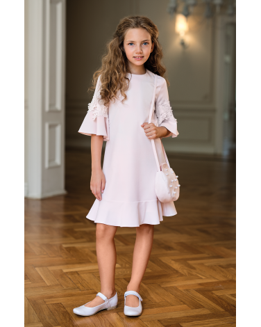 Sukienka z rozkloszowanymi rękawkami 134-164 18B/SM/20 róż